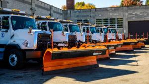 Fleet of snow plow trucks