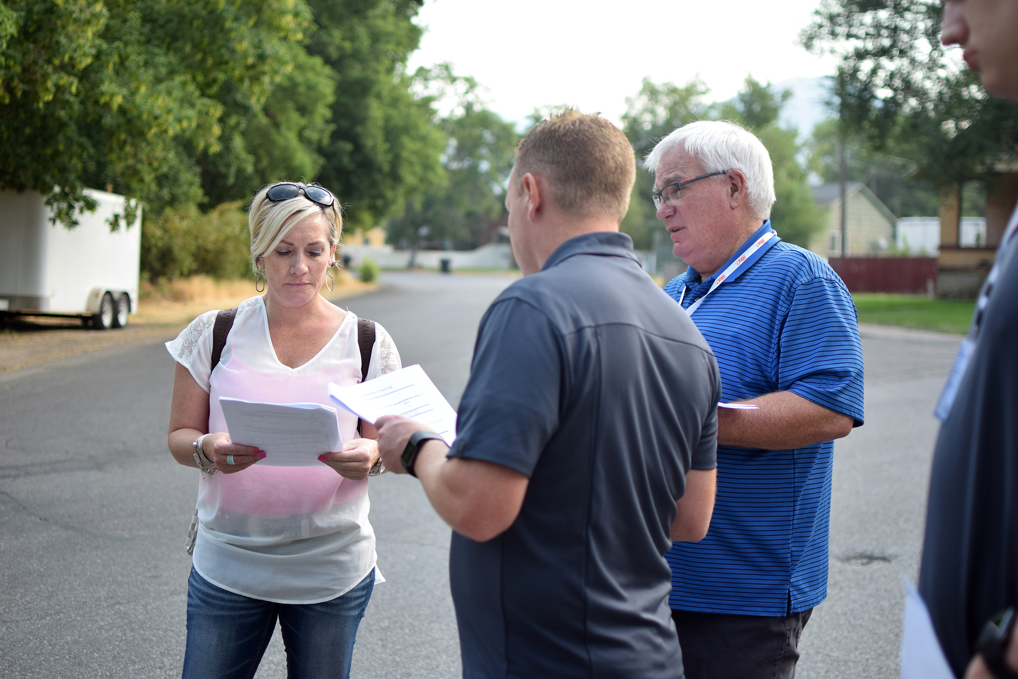 3 People doing a road assessment survey