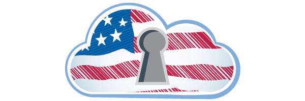 USA flag in cloud with secure lock