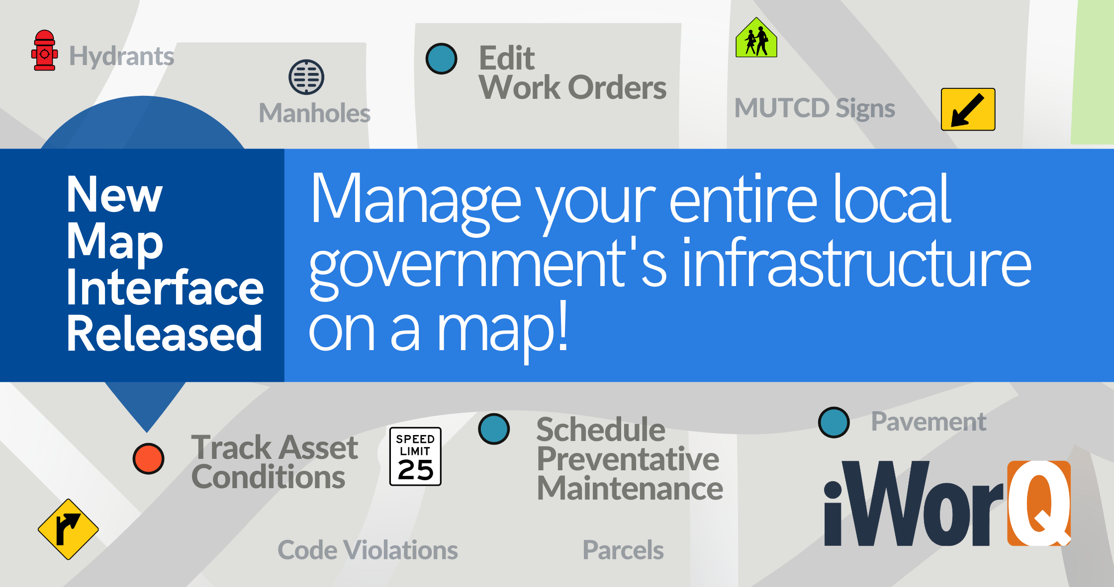 Manage your entire local government infrastructure on a GIS map!
