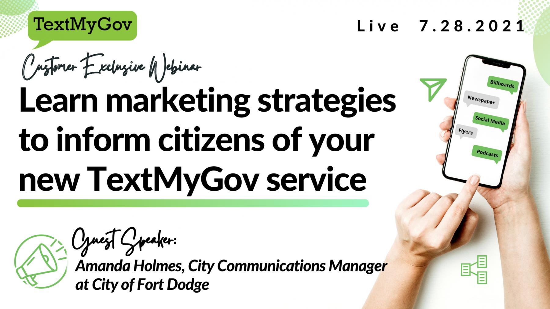 Marketing TextMyGov to citizens